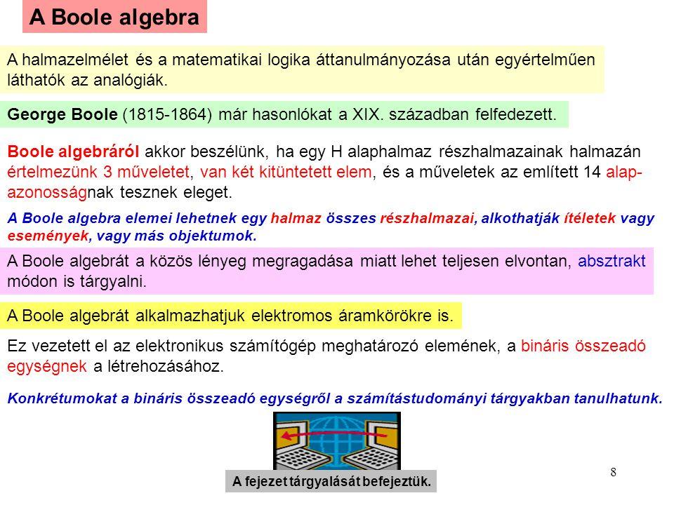 A Boole algebra A halmazelmélet és a matematikai logika áttanulmányozása után egyértelműen. láthatók az analógiák.