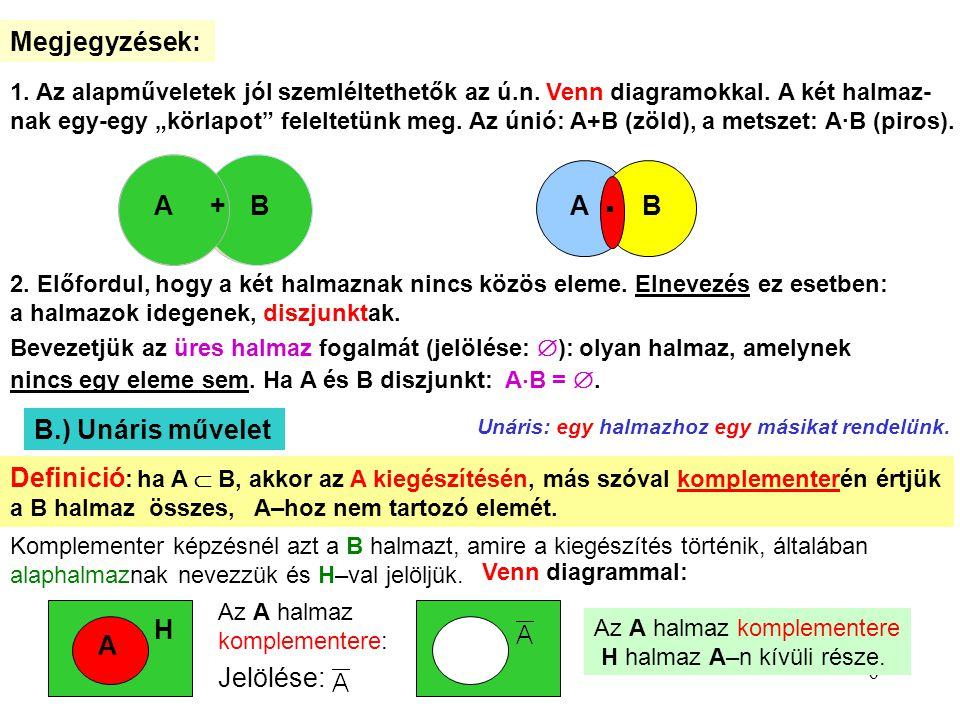 · Megjegyzések: A + B A B B.) Unáris művelet