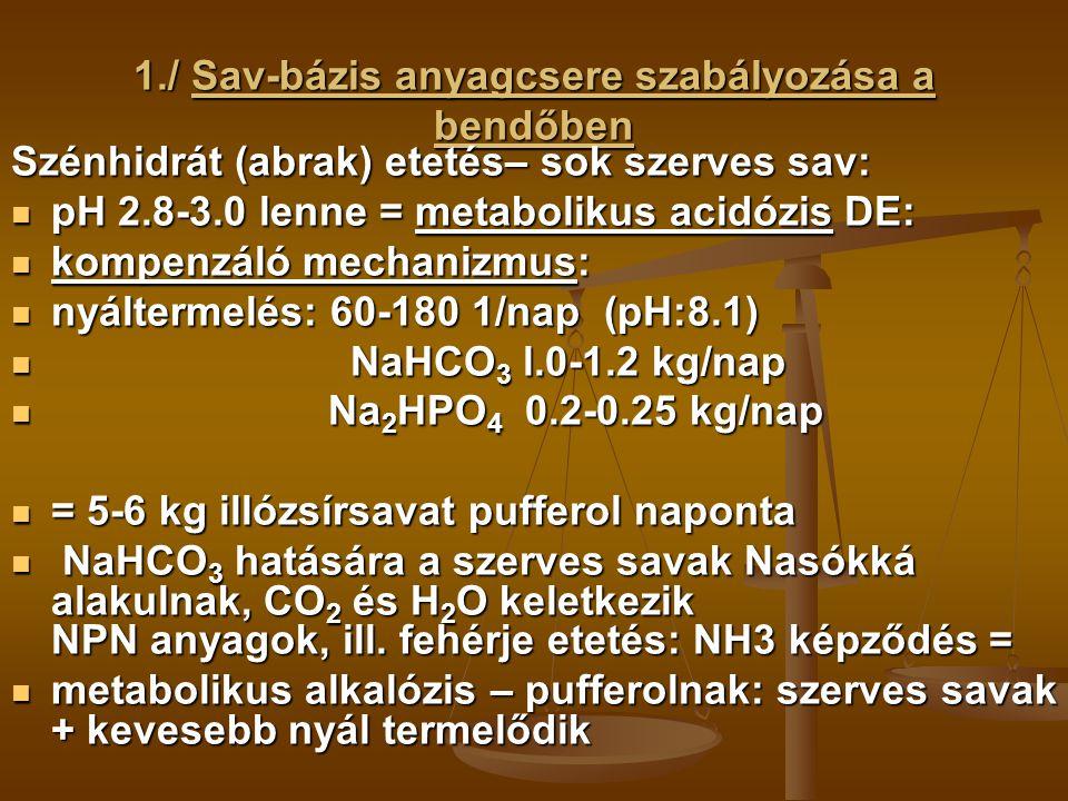 1./ Sav-bázis anyagcsere szabályozása a bendőben