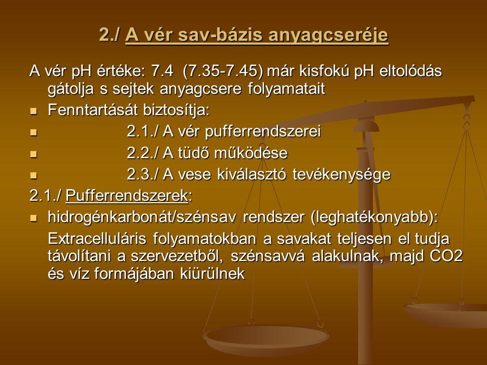 2./ A vér sav-bázis anyagcseréje