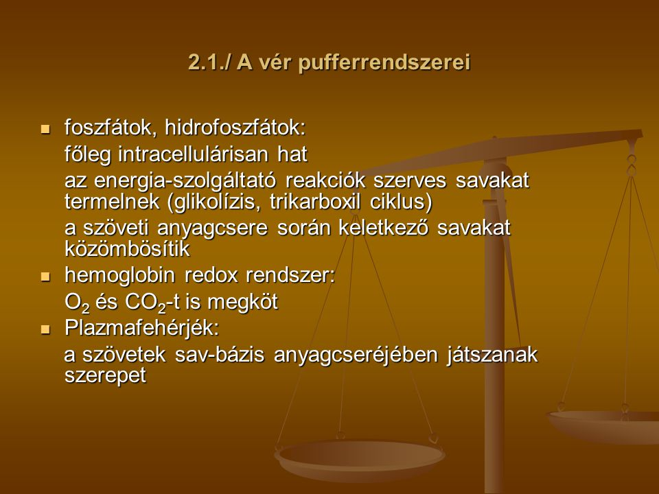 2.1./ A vér pufferrendszerei