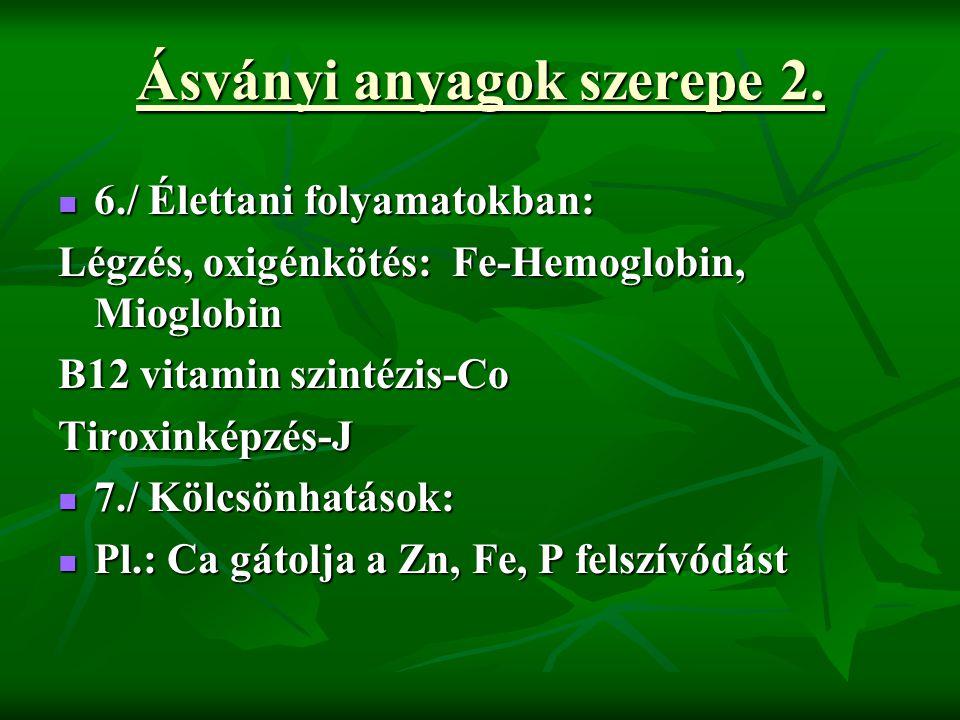 Ásványi anyagok szerepe 2.