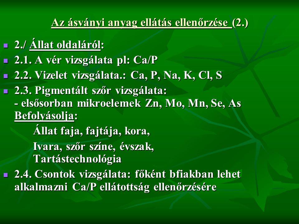 Az ásványi anyag ellátás ellenőrzése (2.)