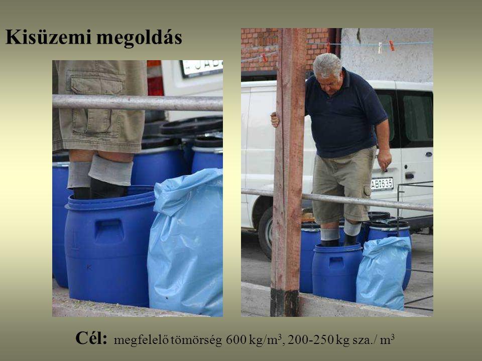 Kisüzemi megoldás Cél: megfelelő tömörség 600 kg/m3, 200-250 kg sza./ m3