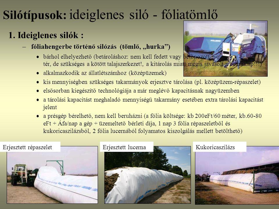Silótípusok: ideiglenes siló - fóliatömlő