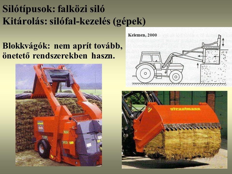 Silótípusok: falközi siló Kitárolás: silófal-kezelés (gépek)