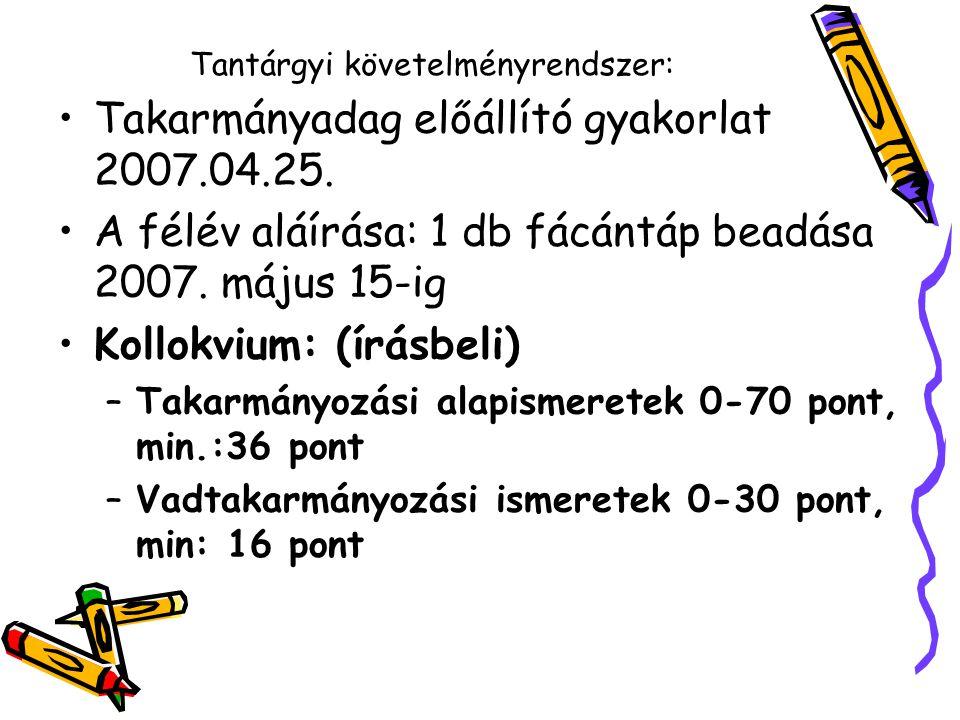 Tantárgyi követelményrendszer: