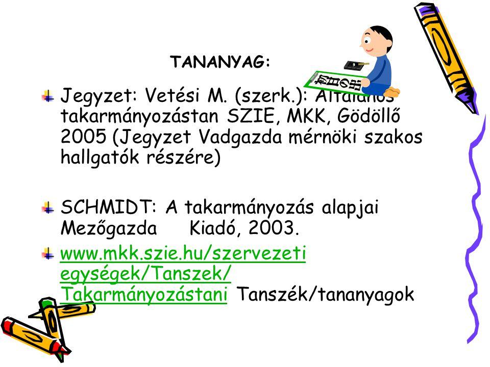 SCHMIDT: A takarmányozás alapjai Mezőgazda Kiadó, 2003.