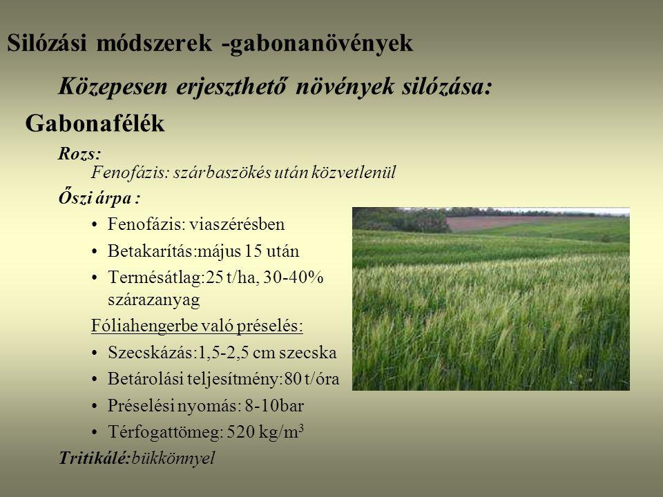 Silózási módszerek -gabonanövények