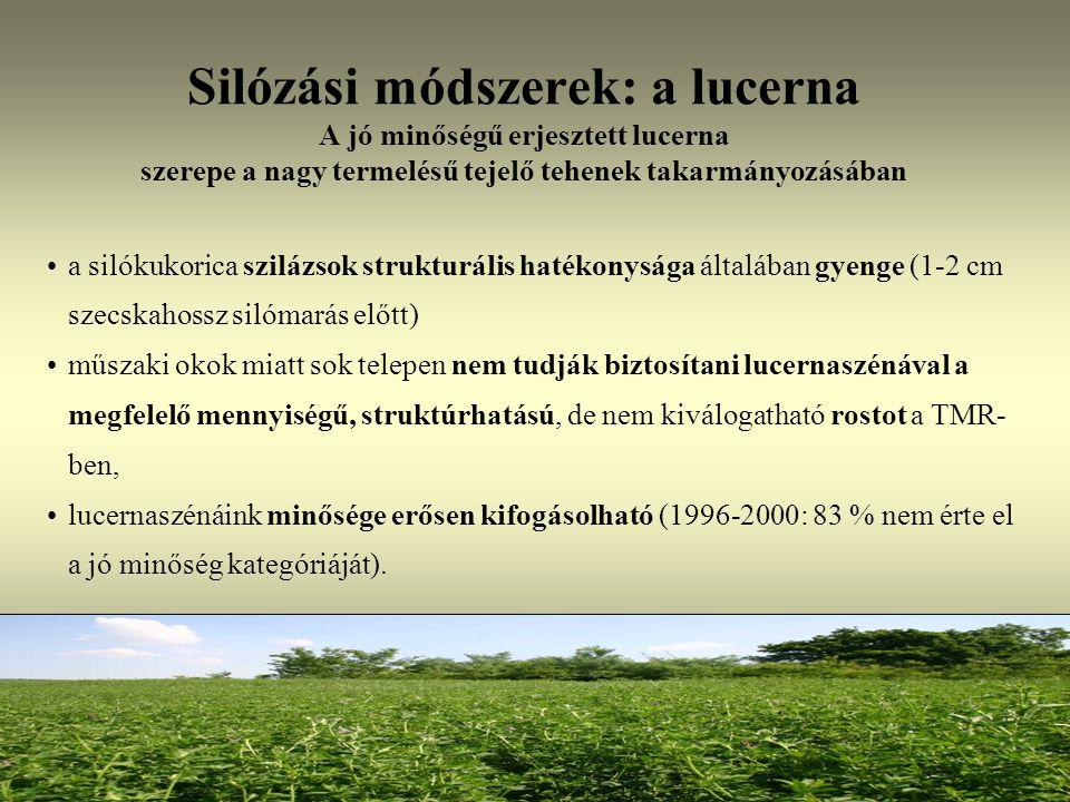 Silózási módszerek: a lucerna A jó minőségű erjesztett lucerna szerepe a nagy termelésű tejelő tehenek takarmányozásában