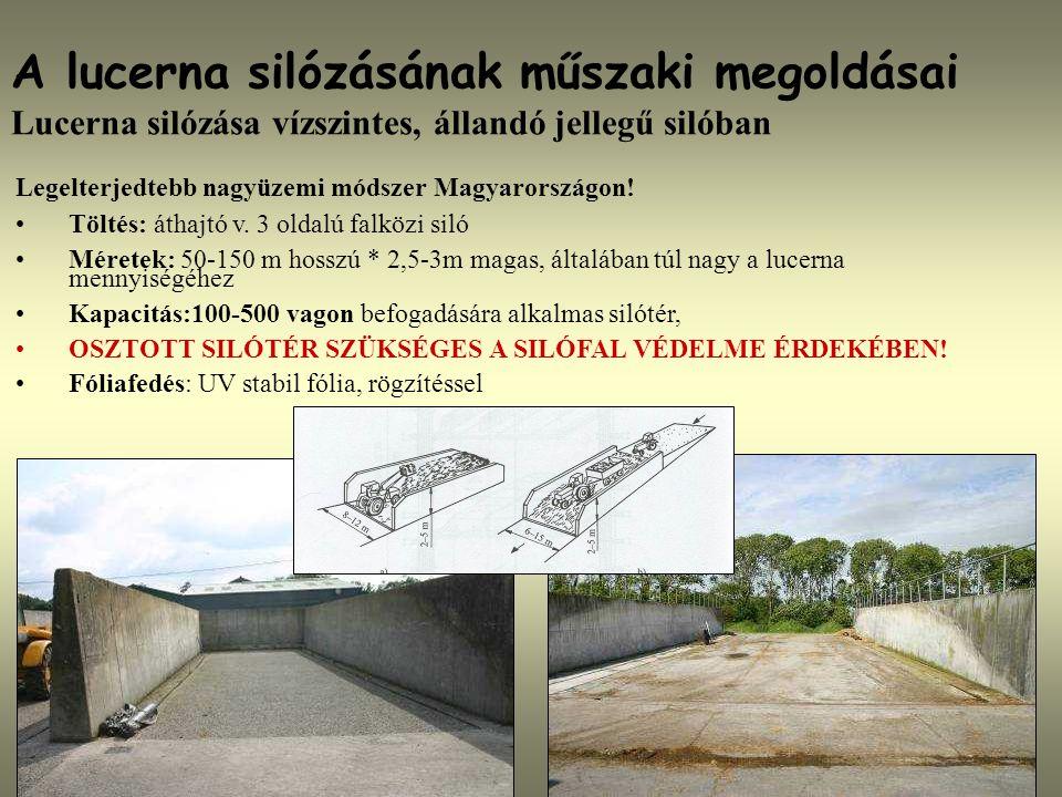 A lucerna silózásának műszaki megoldásai Lucerna silózása vízszintes, állandó jellegű silóban