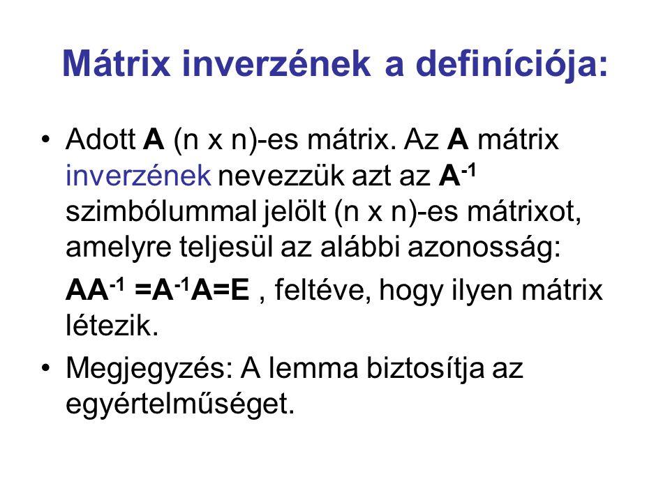 Mátrix inverzének a definíciója: