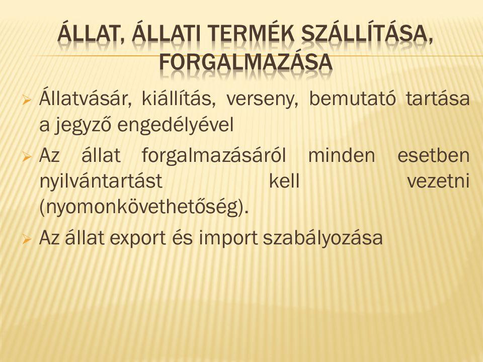 Állat, állati termék szállítása, forgalmazása