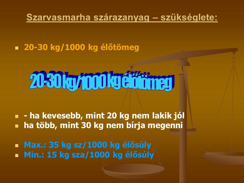 Szarvasmarha szárazanyag – szükséglete: