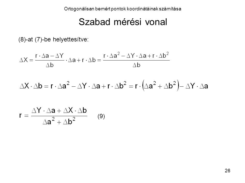 Ortogonálisan bemért pontok koordinátáinak számítása