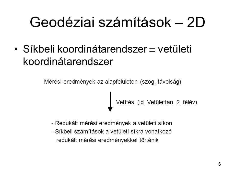 Geodéziai számítások – 2D