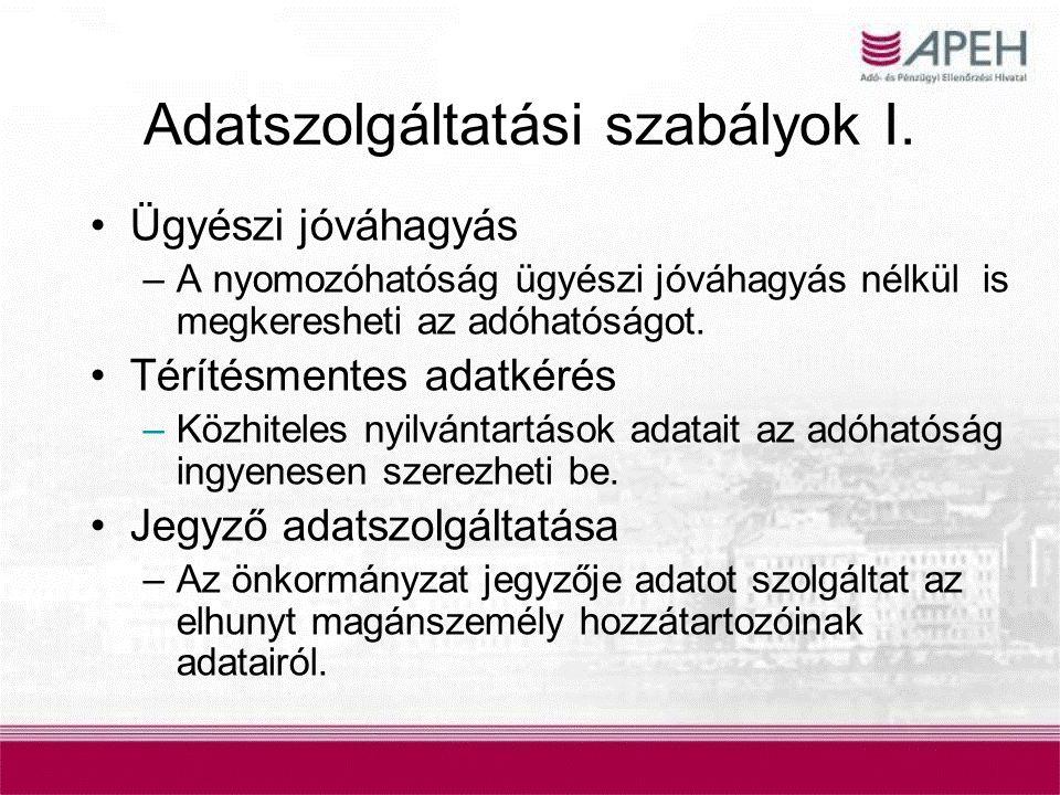 Adatszolgáltatási szabályok I.