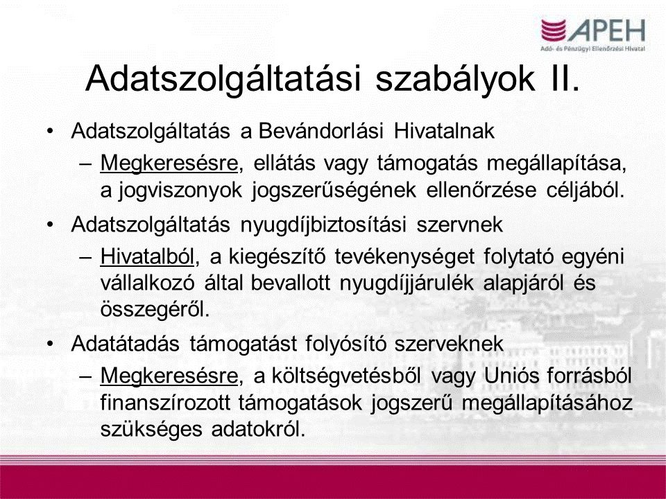 Adatszolgáltatási szabályok II.