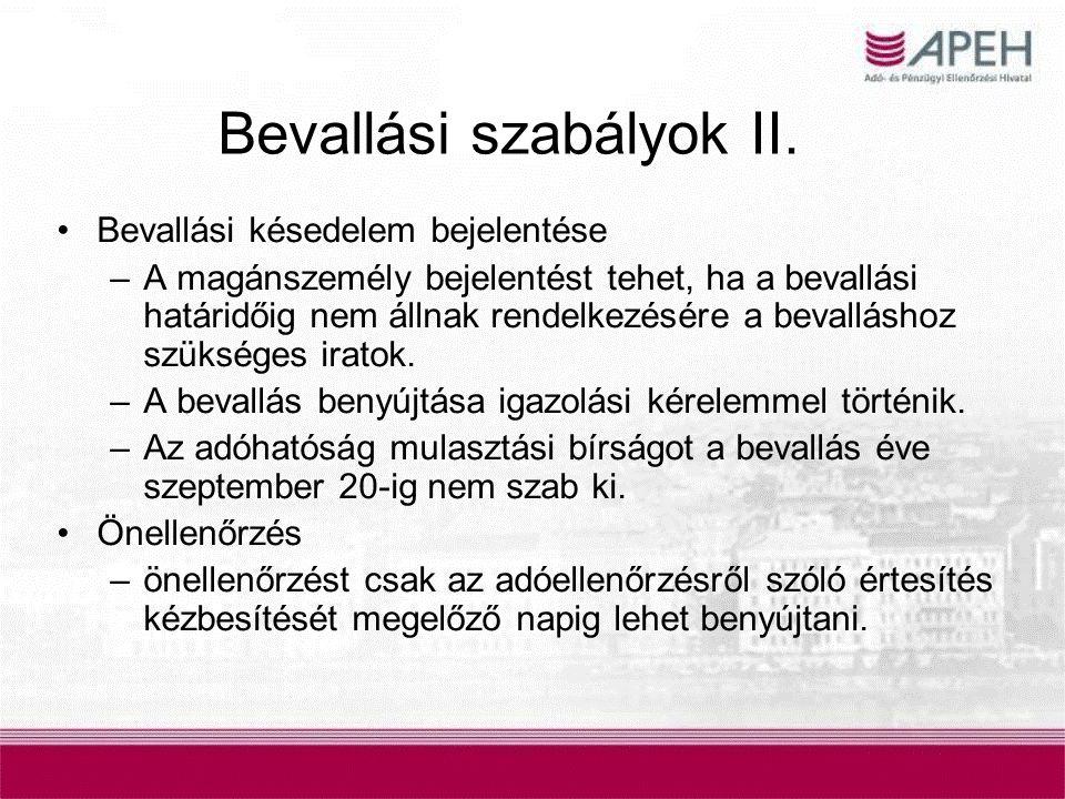 Bevallási szabályok II.