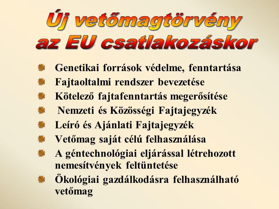 Új vetőmagtörvény az EU csatlakozáskor