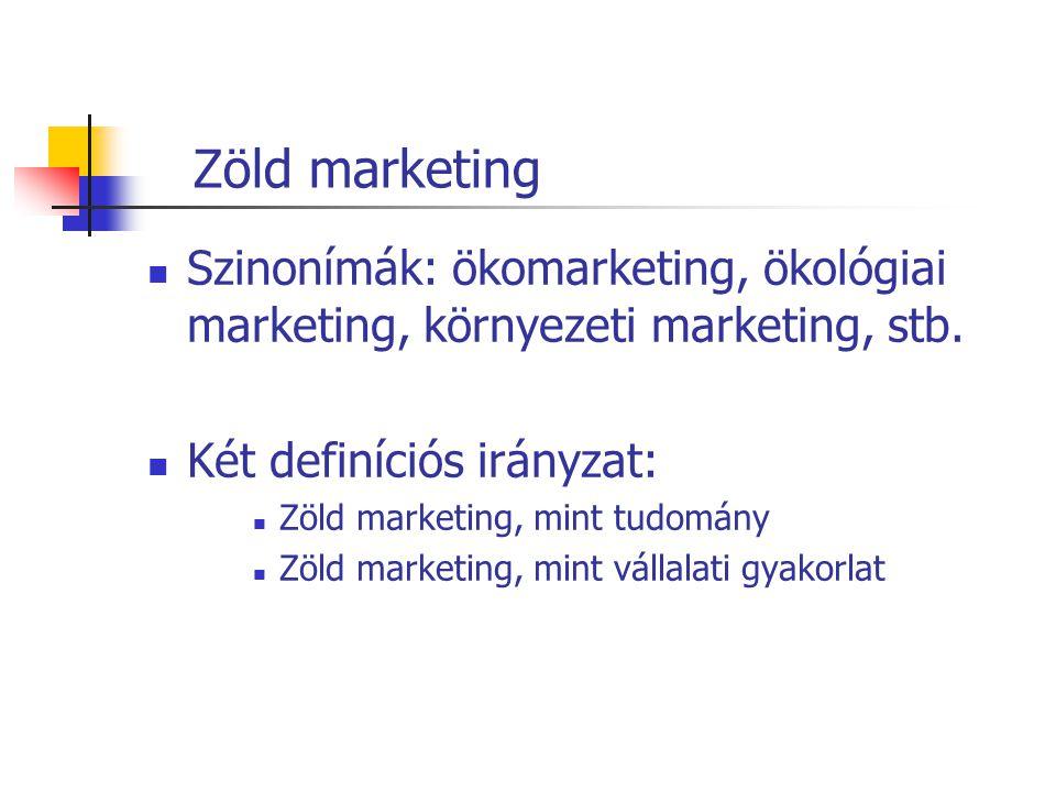 Zöld marketing Szinonímák: ökomarketing, ökológiai marketing, környezeti marketing, stb. Két definíciós irányzat: