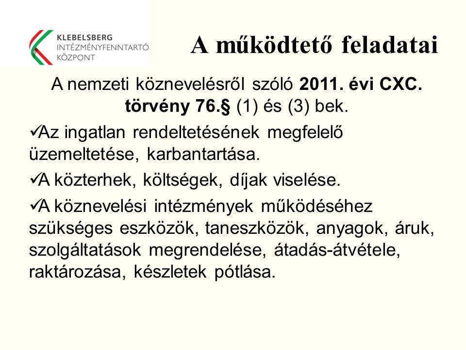 A működtető feladatai A nemzeti köznevelésről szóló 2011. évi CXC. törvény 76.§ (1) és (3) bek.