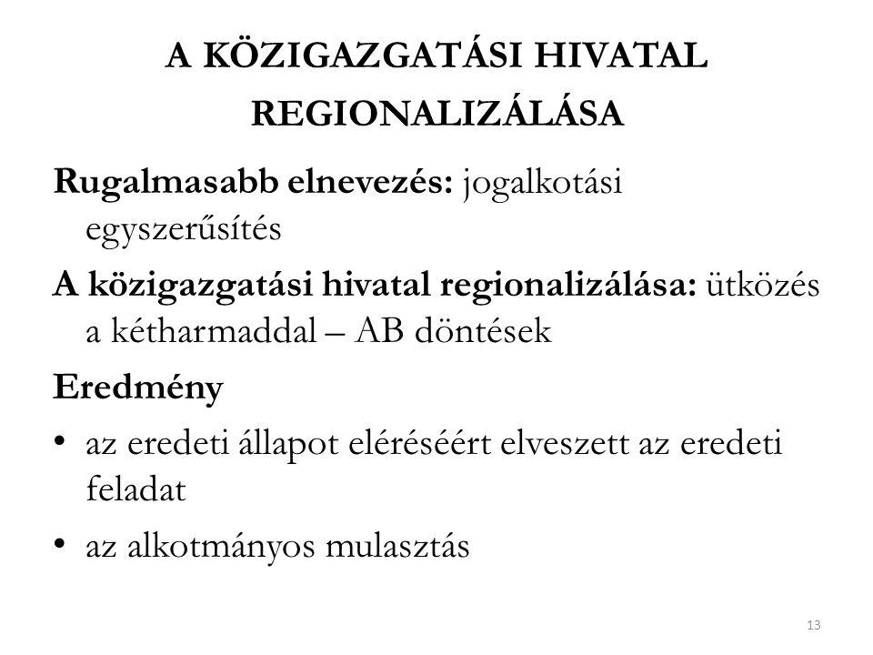 a közigazgatási hivatal regionalizálása
