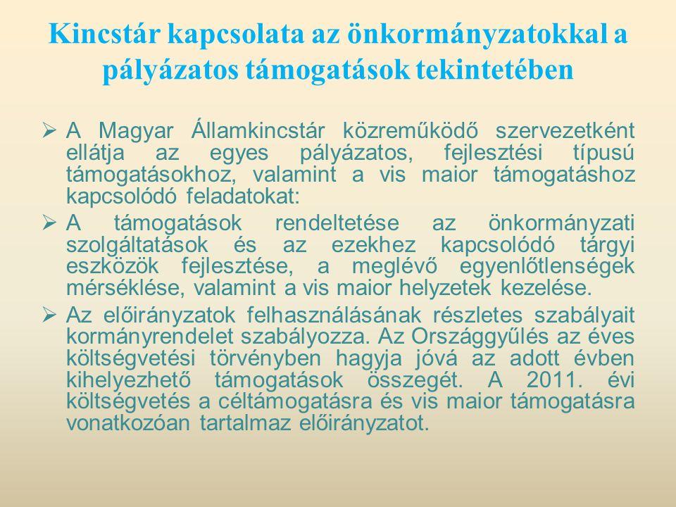 Kincstár kapcsolata az önkormányzatokkal a pályázatos támogatások tekintetében