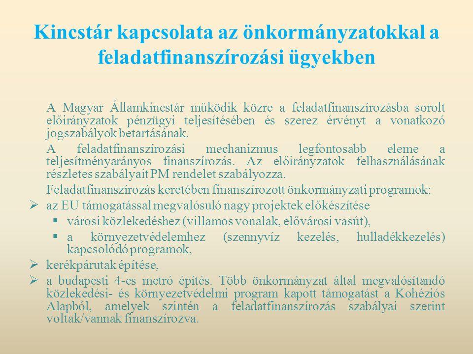 Kincstár kapcsolata az önkormányzatokkal a feladatfinanszírozási ügyekben
