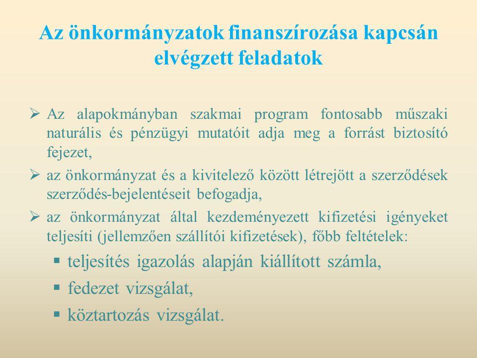 Az önkormányzatok finanszírozása kapcsán elvégzett feladatok