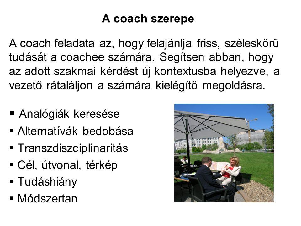 Analógiák keresése A coach szerepe