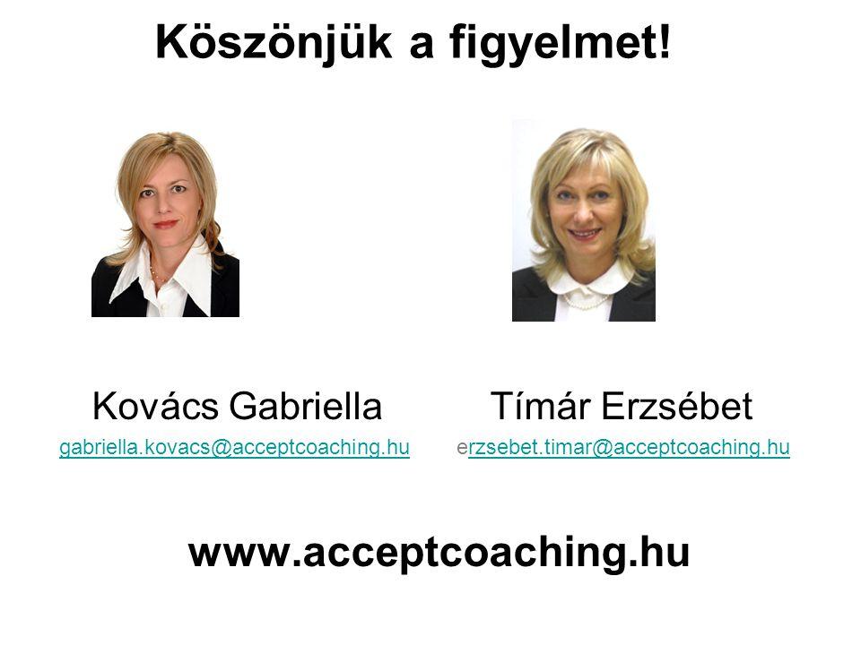 Köszönjük a figyelmet! Kovács Gabriella Tímár Erzsébet