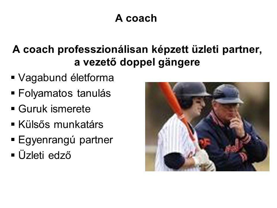 A coach A coach professzionálisan képzett üzleti partner, a vezető doppel gängere. Vagabund életforma.