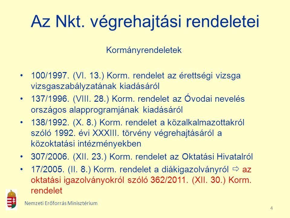 Az Nkt. végrehajtási rendeletei