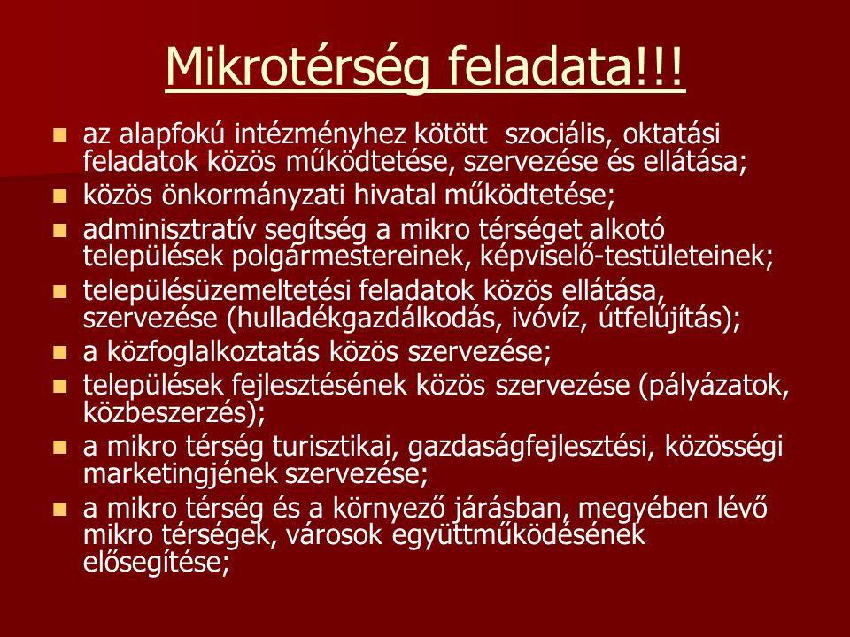 Mikrotérség feladata!!! az alapfokú intézményhez kötött szociális, oktatási feladatok közös működtetése, szervezése és ellátása;