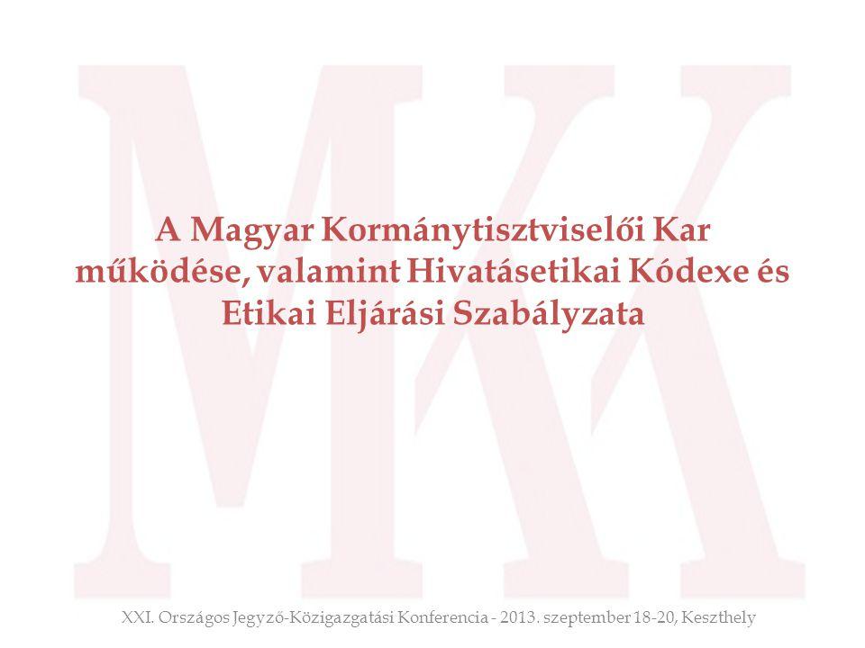 A Magyar Kormánytisztviselői Kar működése, valamint Hivatásetikai Kódexe és Etikai Eljárási Szabályzata