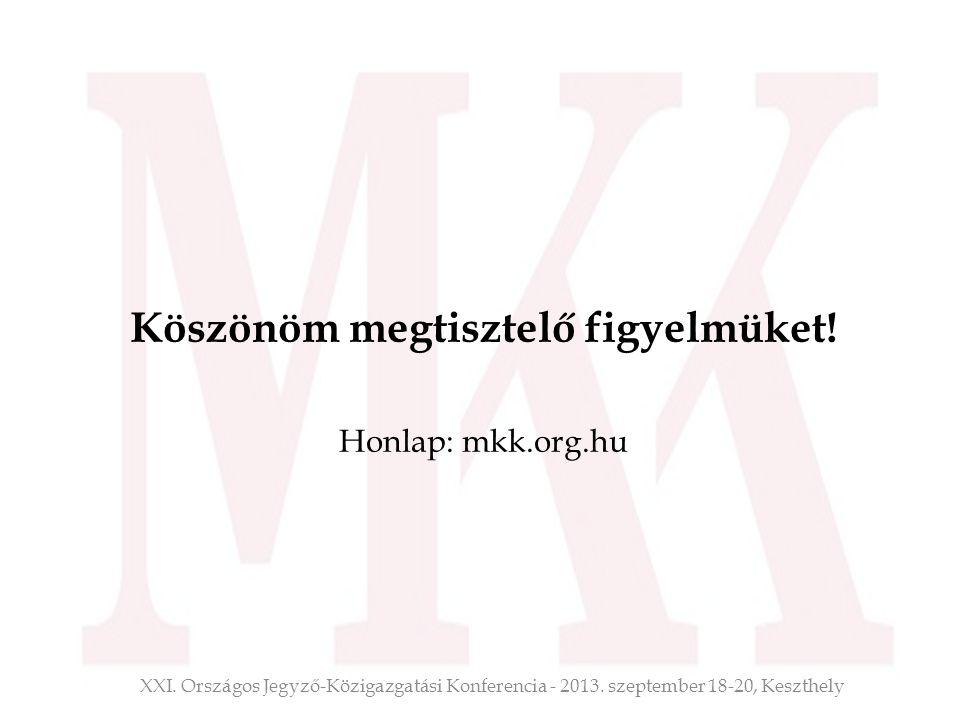 Köszönöm megtisztelő figyelmüket! Honlap: mkk.org.hu