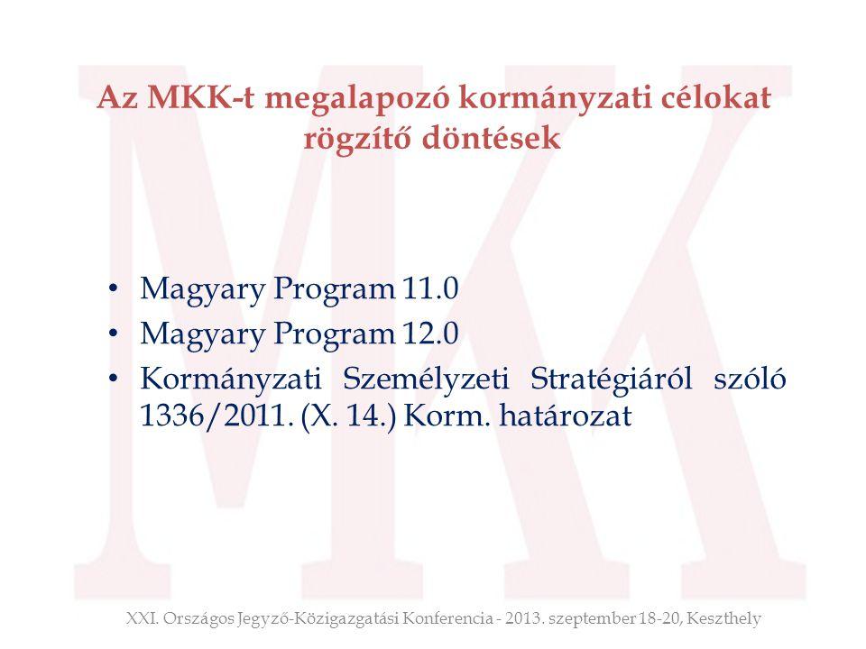 Az MKK-t megalapozó kormányzati célokat rögzítő döntések