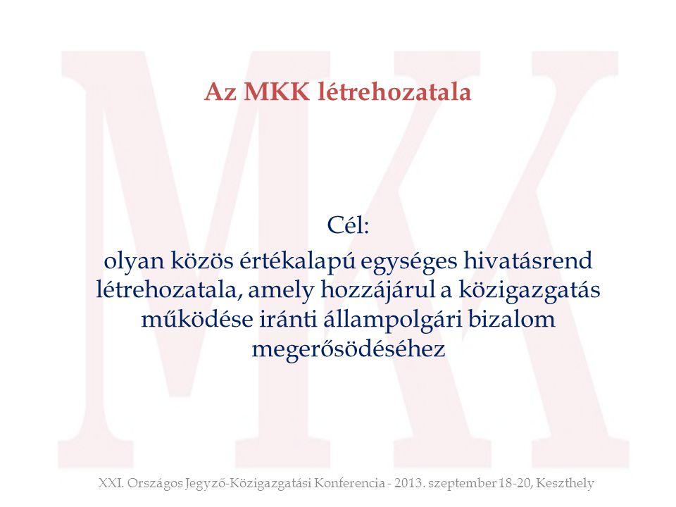 Az MKK létrehozatala Cél: