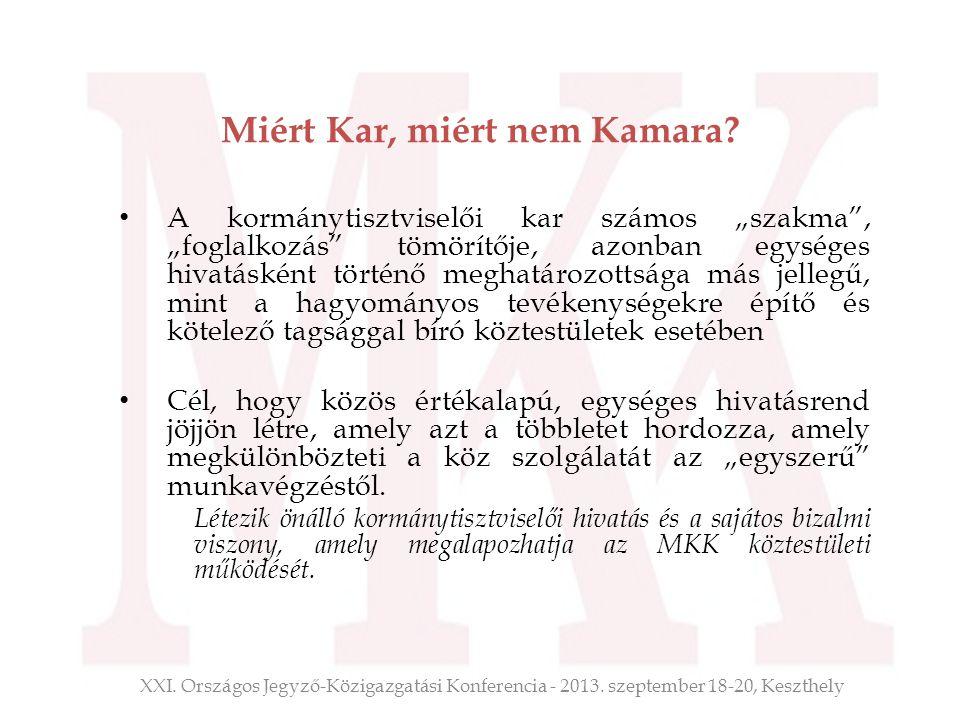 Miért Kar, miért nem Kamara