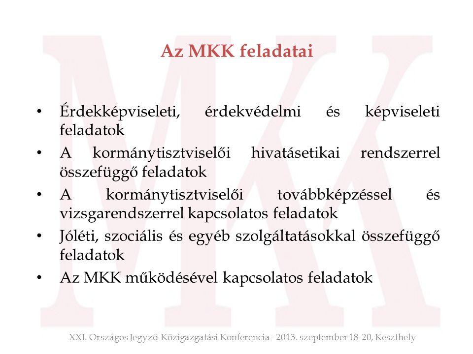 Az MKK feladatai Érdekképviseleti, érdekvédelmi és képviseleti feladatok. A kormánytisztviselői hivatásetikai rendszerrel összefüggő feladatok.