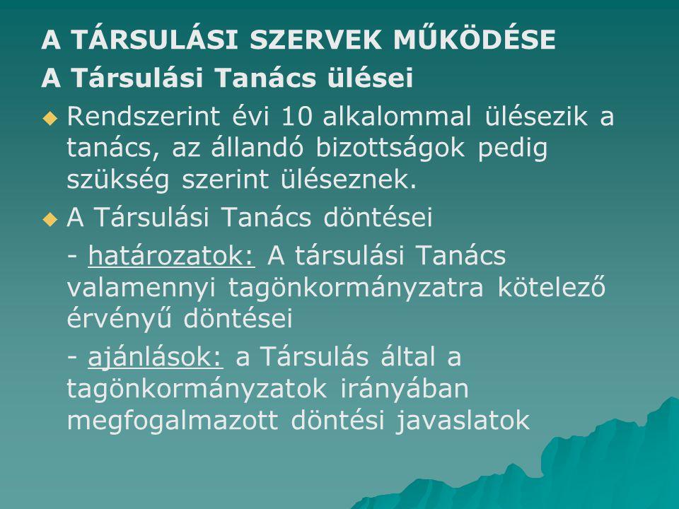 A TÁRSULÁSI SZERVEK MŰKÖDÉSE