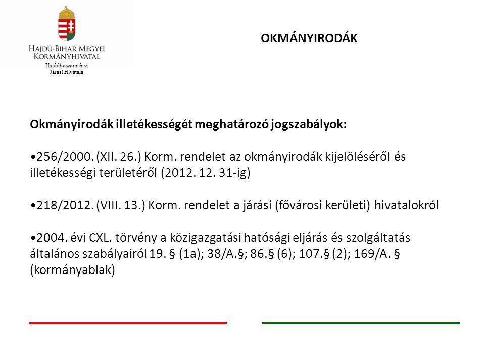 Okmányirodák illetékességét meghatározó jogszabályok: