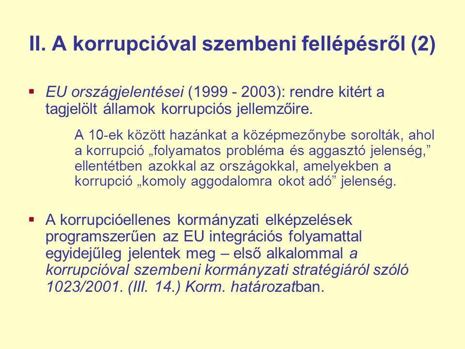 II. A korrupcióval szembeni fellépésről (2)
