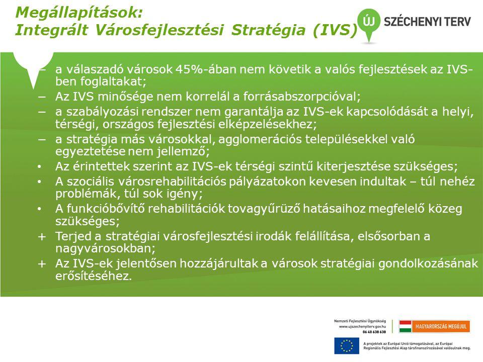 Megállapítások: Integrált Városfejlesztési Stratégia (IVS)