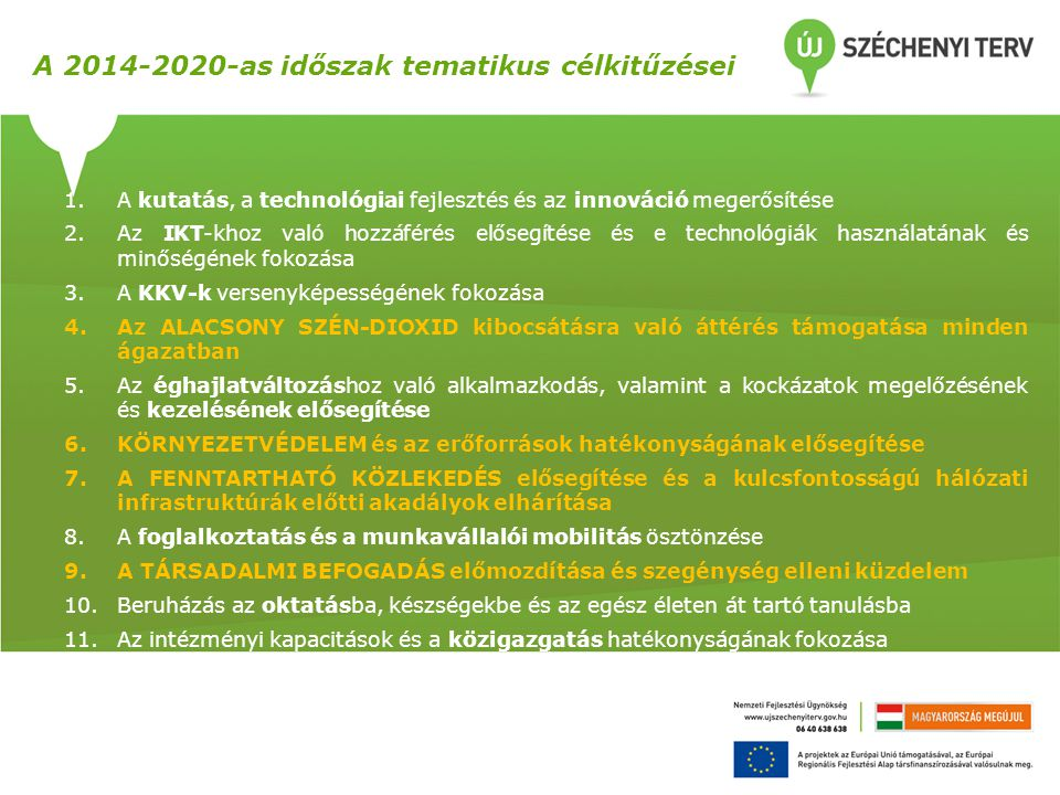 A 2014-2020-as időszak tematikus célkitűzései