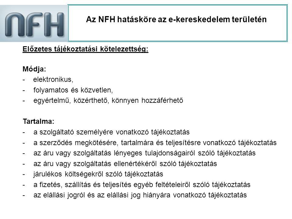 Az NFH hatásköre az e-kereskedelem területén