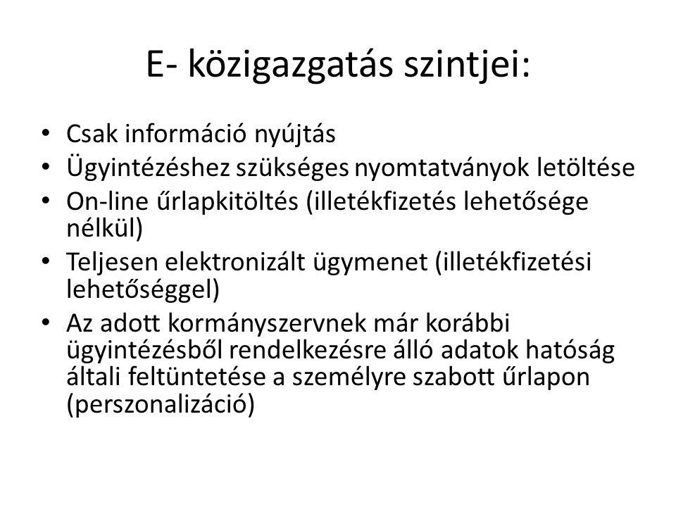 E- közigazgatás szintjei:
