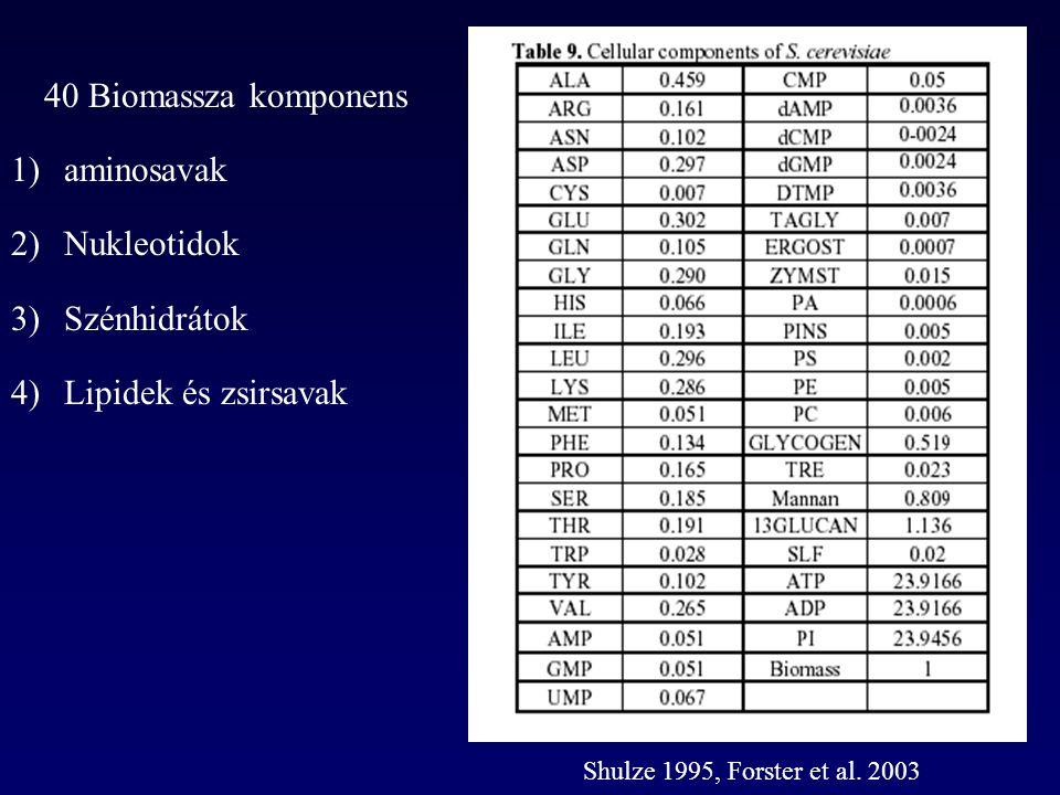 40 Biomassza komponens aminosavak Nukleotidok Szénhidrátok