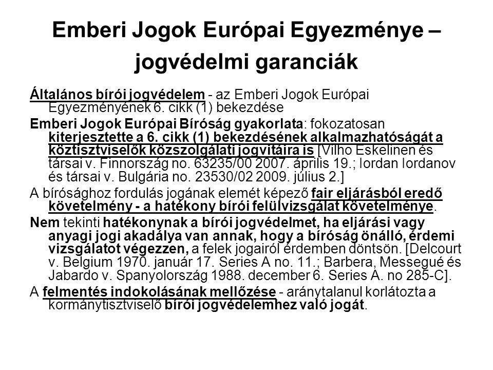 Emberi Jogok Európai Egyezménye – jogvédelmi garanciák